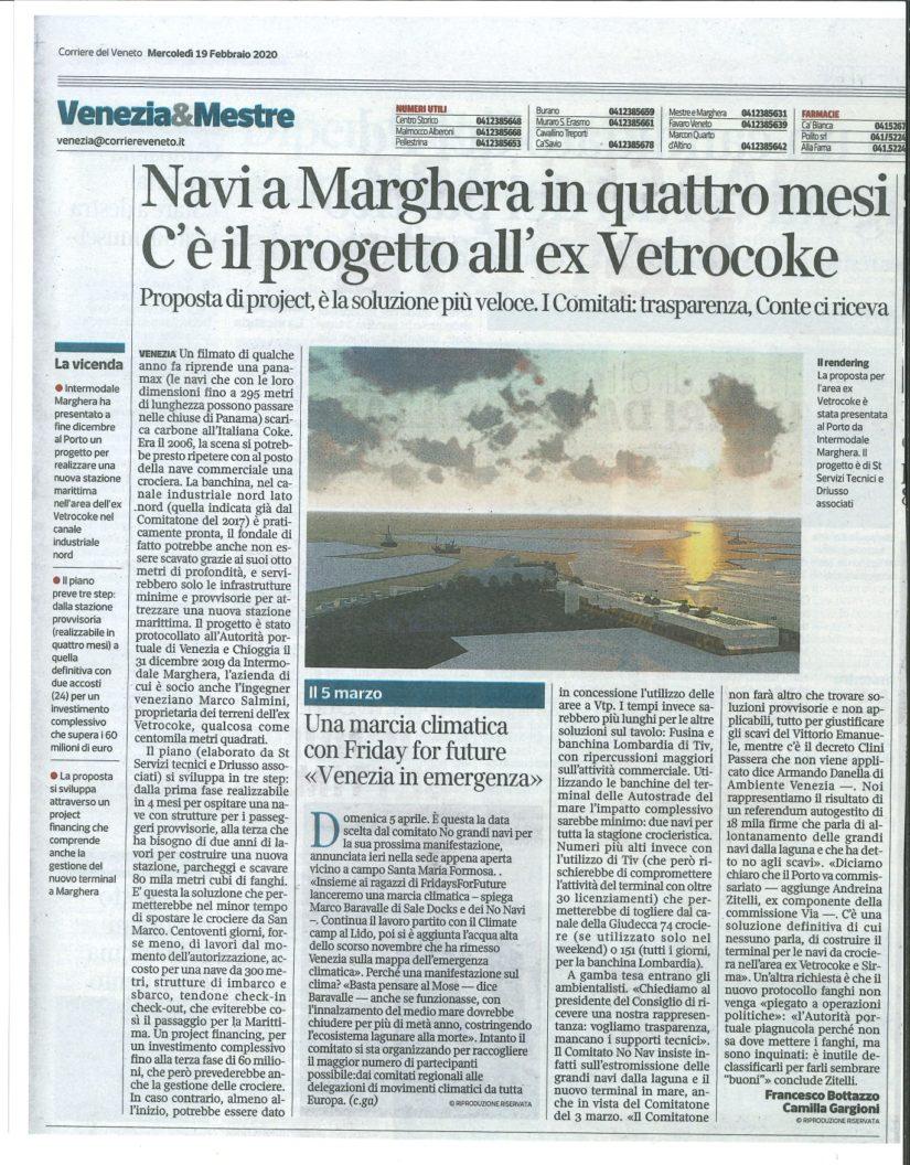 Corriere del Veneto per Progetto preliminare Nuovo Terminal Crociere – Venezia